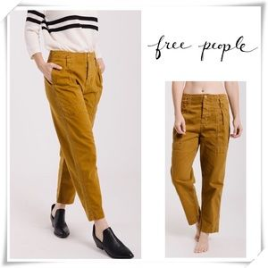 Free People High Rise Boyfriend Chino Ankle Jeans
